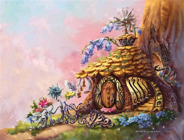 Fairy house base of tree art loves pinterest for Disney fairies wall mural