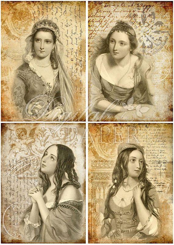 Mistero  digital collage sheet  set of 4 cards  by bydigitalpaper, $4.35
