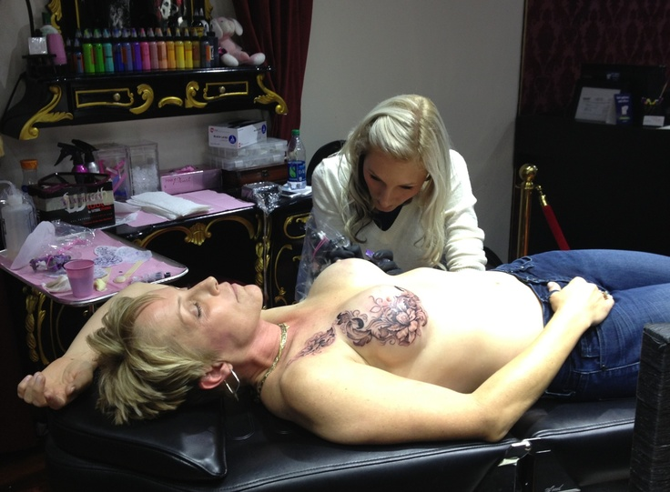 Halfway done. 3.5 more hours to go.  // P-ink.org provides mastectomy patients with tattoo info.