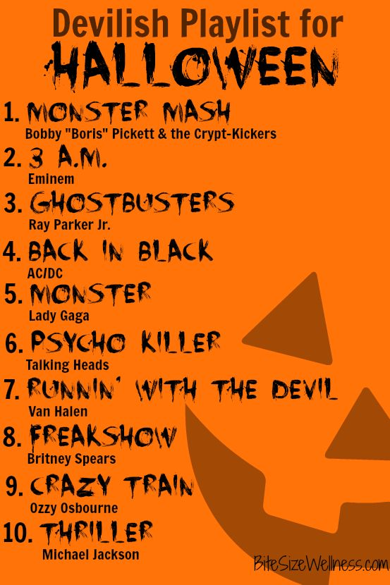 Devilish Playlist for Halloween BiteSizeWellness.com
