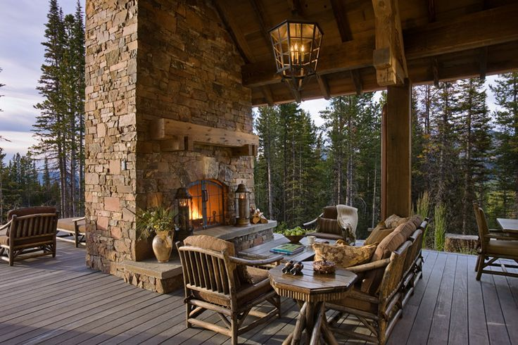 Covered deck home pinterest for Covered patio with fireplace