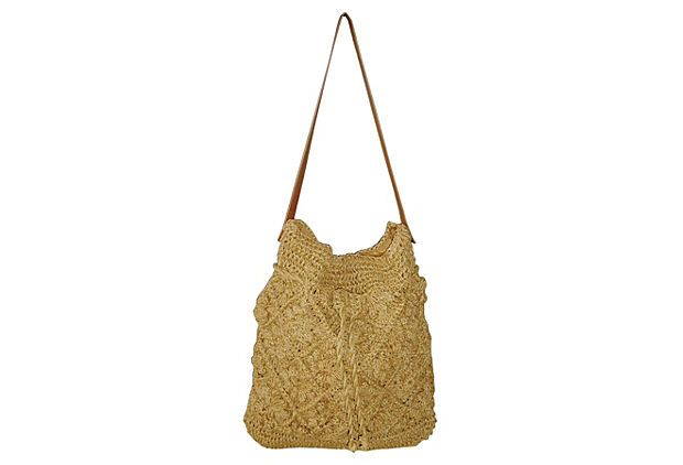 Crochet Bucket Bag : Drawstring Crochet Bucket Bag, Tan on OneKingsLane.com