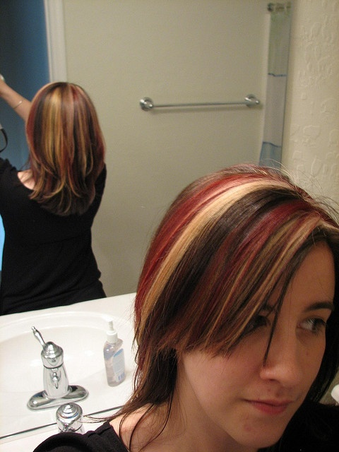 And brown on top tri color brown hair with red amp blond highlights