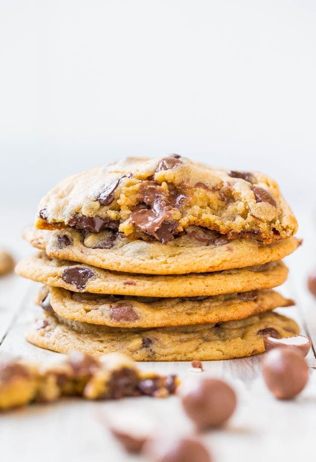 Malted Milk & Whoppers Chocolate Chip Cookies - Soft & chewy cookies ...