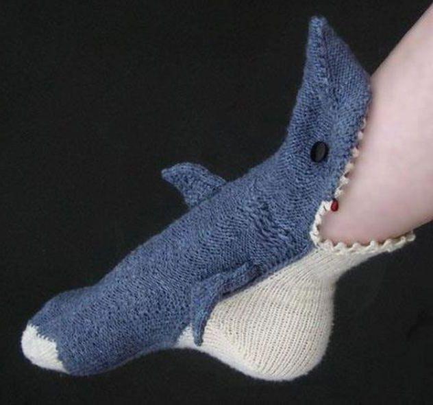 Knitted Shark Socks Pattern : shark socks My Style Pinterest
