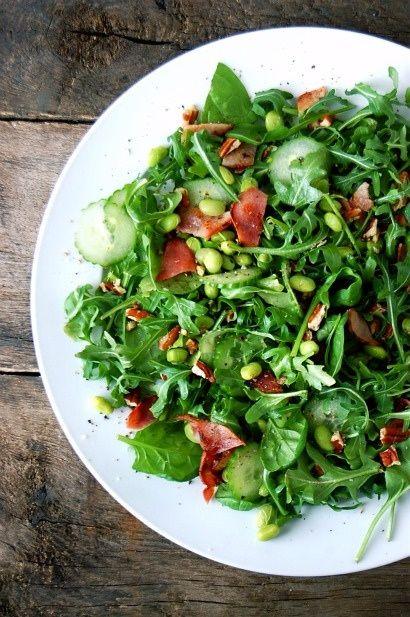 Arugula Spinach Edamame Bacon Salad arugula and spinach leaf mix 1/2 ...