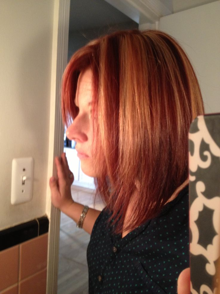 Long layered bob -- Red with blonde chunky highlight. | Funny ...