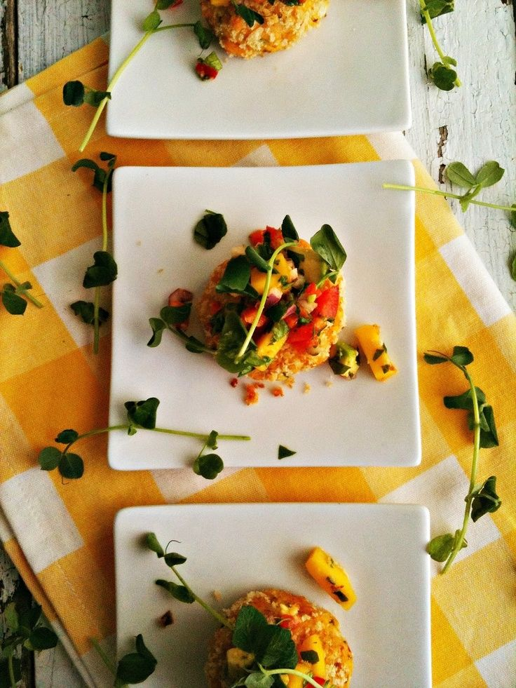 Curried Crab Cakes with Mango Avocado Salsa by sweetsugarbean