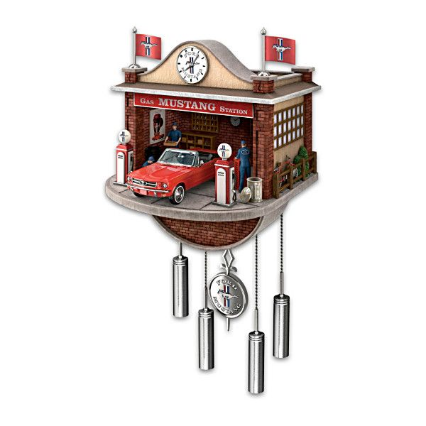 Ford mustang garage wall clock with motion and sound - Motorcycle cuckoo clock ...