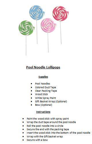 Pool Noodle Lollipops Party On Wonka Pinterest