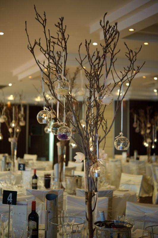 Branch tea light centerpiece wedding stuff pinterest for Lighted centerpieces