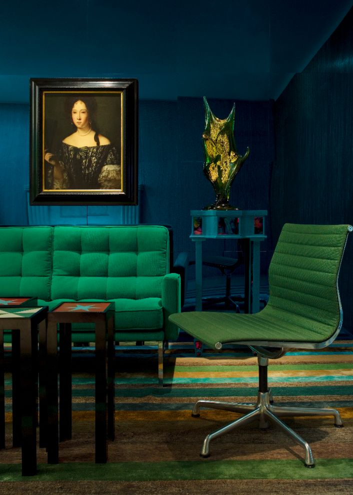 A peacock blue and emerald green living room, via Pinterest