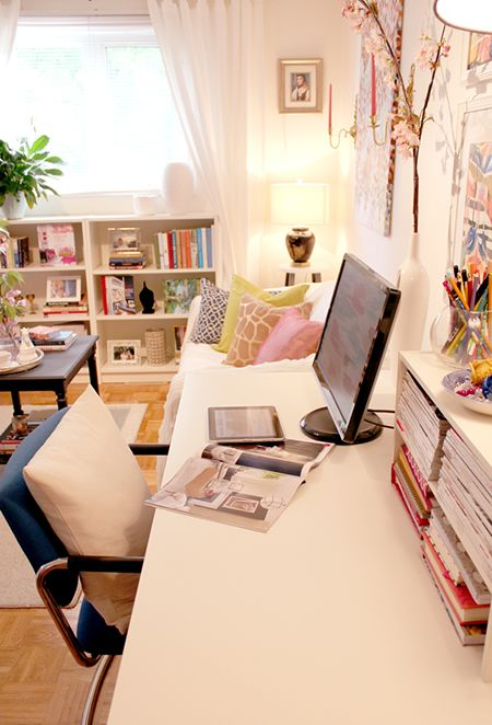 home office with magazine storage
