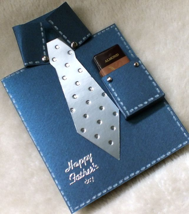 Handmade Father's Day Shirt & Tie Card with Free Chocolate - Folksy