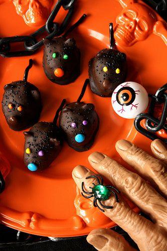 Halloween Mice ~ chocolate crispy peanut butter mice