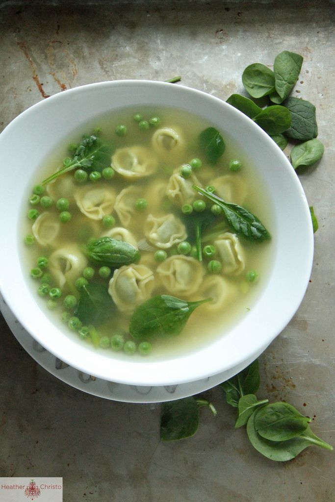 Tortellini Soup With Peas And Spinach Recipe — Dishmaps