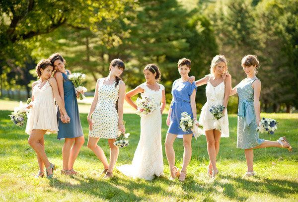 a fun mix of bridesmaids  Photography by jennymoloney.com