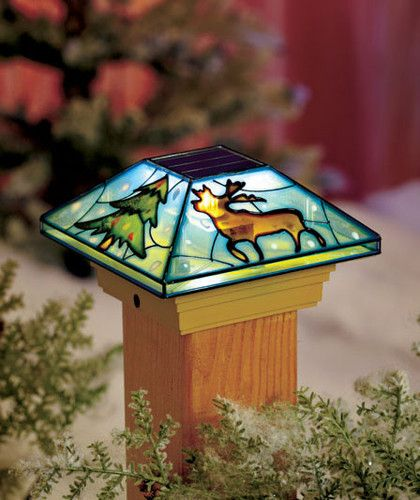 Moose Solar Light Deck Post Cap Stained Glass Look Fence