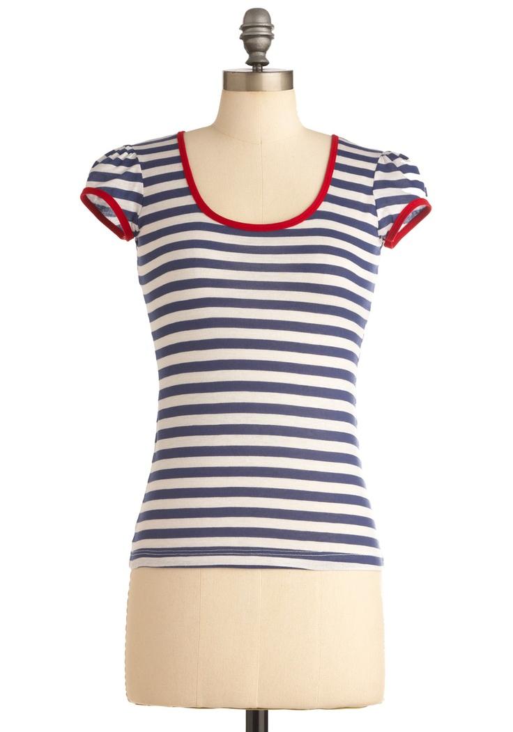 I Love You, I Love You Nautical Top | Mod Retro Vintage Short Sleeve Shirts | ModCloth.com