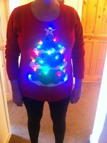 Christmas Jumper Novelty Hand made Xmas Tree with Lights Eskimo & Frog