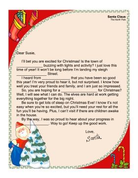 Santa Letter Fill In   Printables   Pinterest