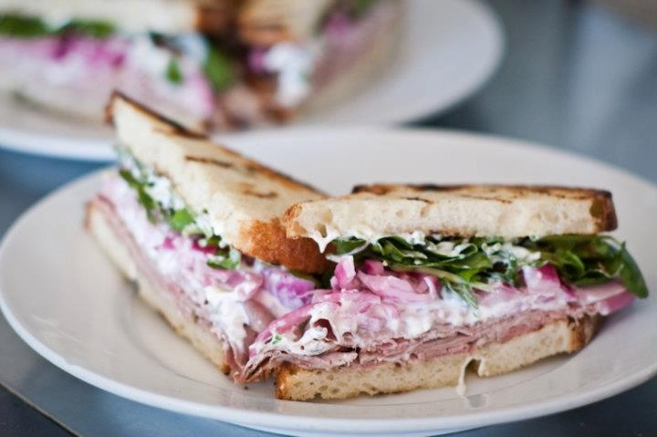 Roast beef sandwich with pickled red onions, watercress, and ...