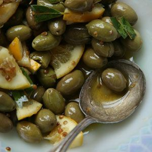 Lemon and Coriander Marinated Olives, Saveur