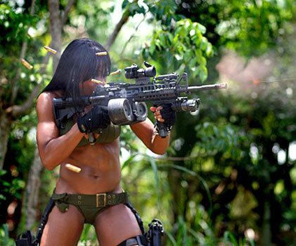 girl with machine gun