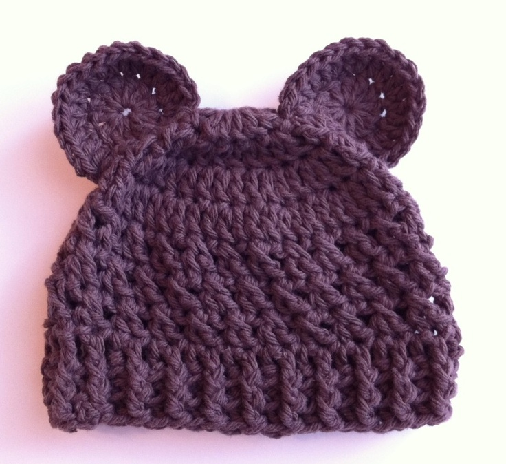 Crochet Baby Teddy Bear Hat Pattern : Crochet Pattern for Baby Bear Beanie Hat - 5 sizes, baby ...