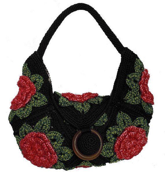 Handmade Crochet Bags : Handmade crochet hook handbag hobo women black bag by Buzaitingle, $65 ...