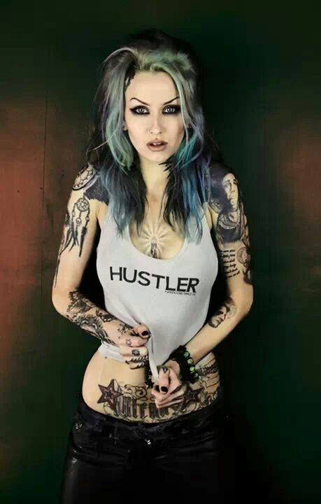 Green Blue Black Hair And Tattoos Tattoo Pin Ups Pinterest