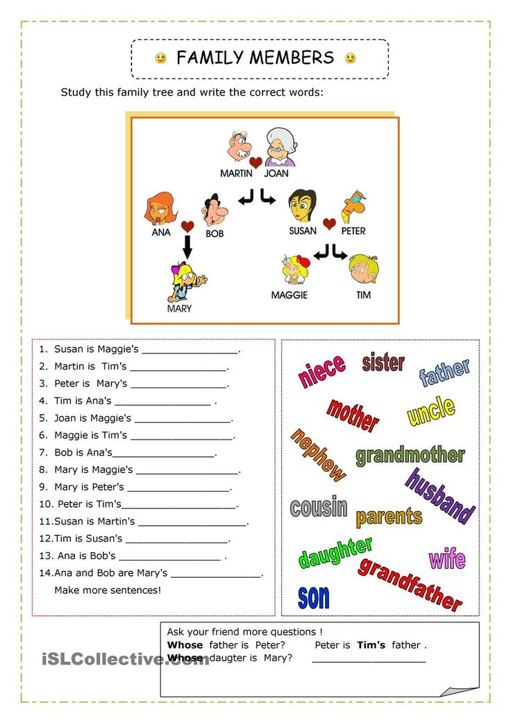 My family tree worksheet esl
