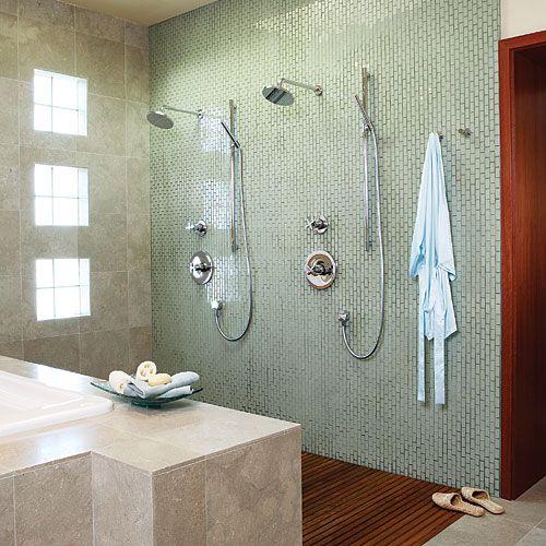 Open shower (© Michele Lee Willson)  Bathrooms  Pinterest