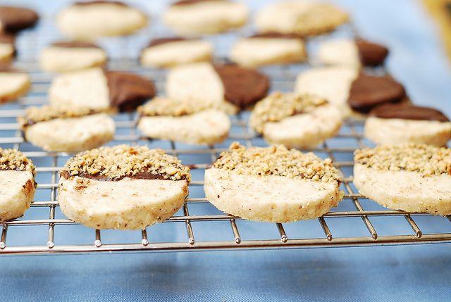Chocolate covered hazelnut shortbread cookies | Recipe