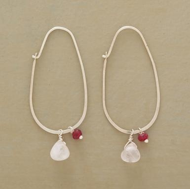 "Rose quartz and garnets symbolize unconditional love, suspended from sterling oval hoops. Handmade in USA exclusively for Sundance. 1-1/2""L."