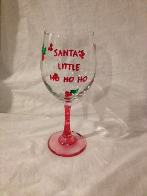Hand painted funny christmas wine glasses for Holiday stemware
