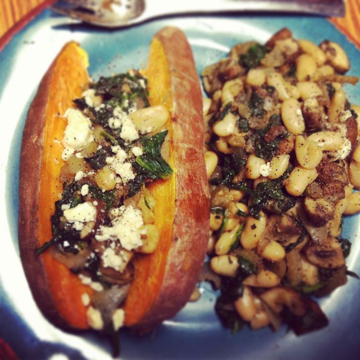 Sweet Potato with mushrooms, spinach, onion, white beans, & feta ...