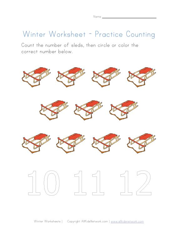 winter counting to eleven | Pre-K worksheets | Pinterest