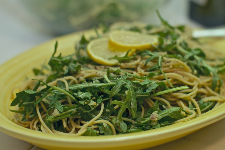 Whole wheat pasta with meyer lemon, arugula & pistachio