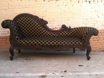 Antique Chaise Lounge Sofa Loveseat Wood Queen Throne