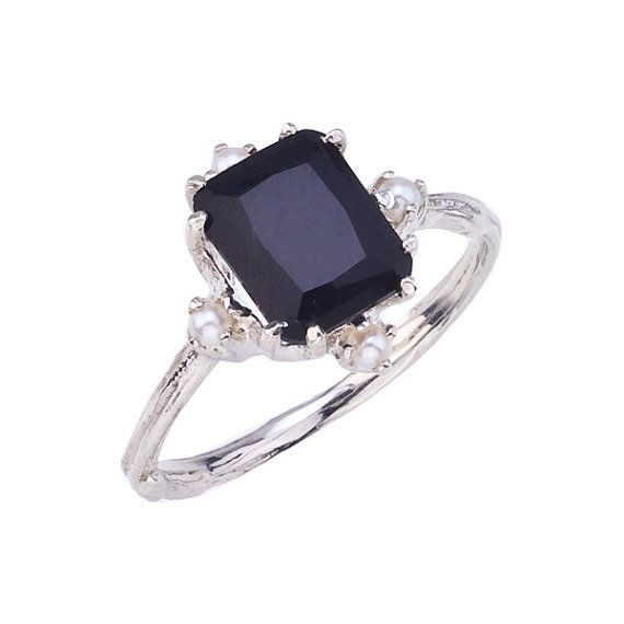 vintage inspired pearl ring with black onyx emerald cut