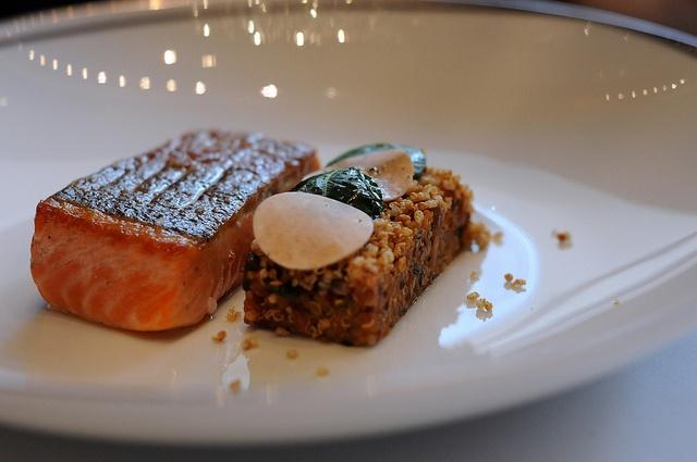 "trout roasted unilateral on the skin, quinoa & wild mushroom ""risott..."