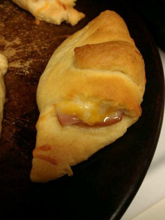 Crescent rolls with ham and cheese inside!
