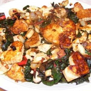Caramelized Tofu with Swiss Chard by @TofuXpress #Vegan