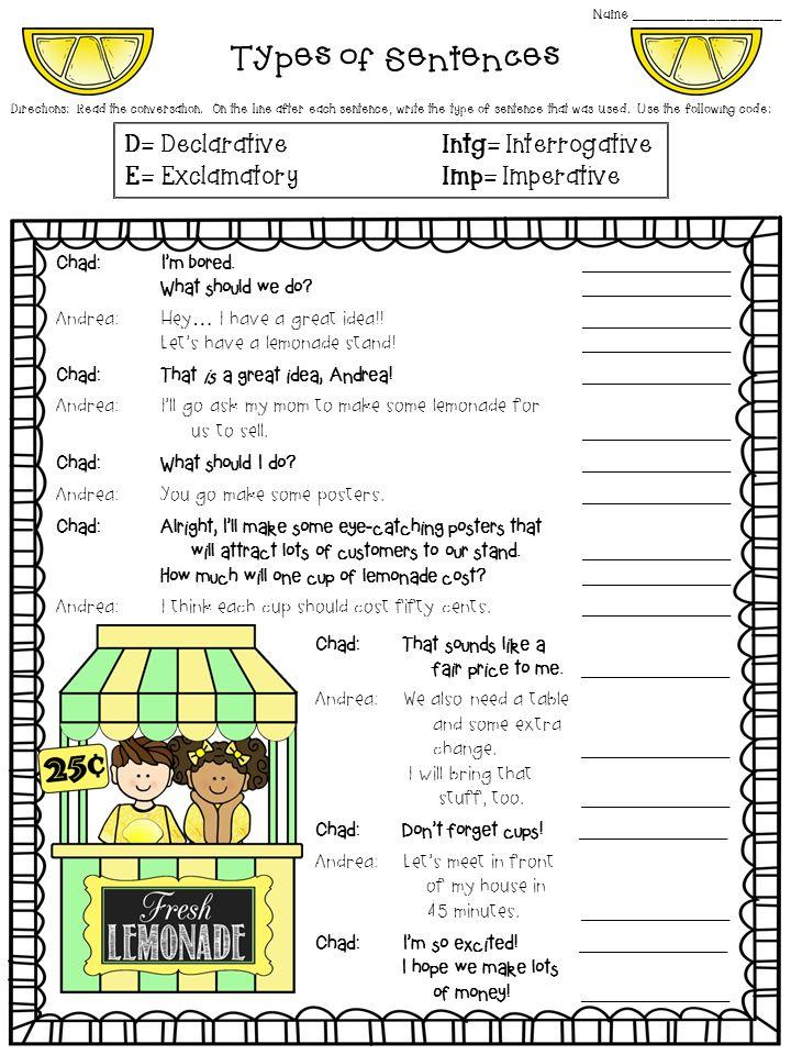 Types of Sentences Worksheet FREEBIE! declarative, imperative ...