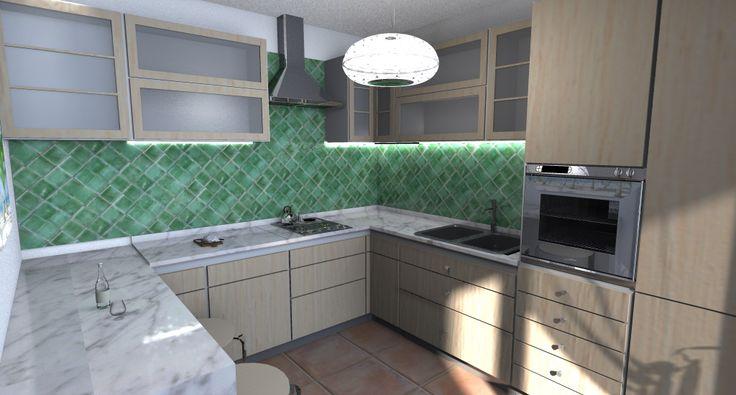 Cucina legno chiaro, marmo e piastrelle in cerasarda verdi  Interior Design ...