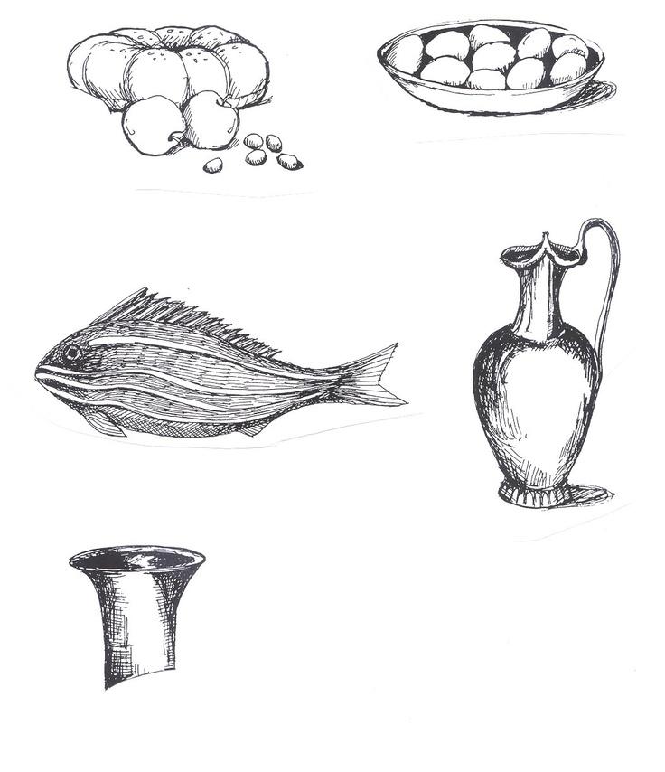 Line Drawing Food : Mosaic pen line drawings food ancient rome exploring