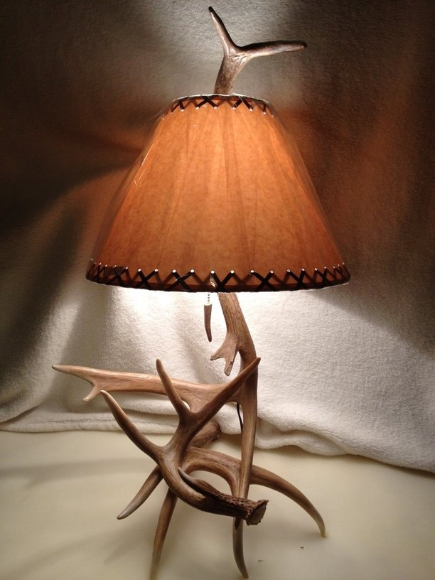 real whitetail antler lamp deer shed handcrafted by us with free shade