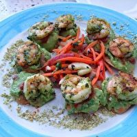 Grilled Shrimp Tostada Bites by Z-Tejas. This has more detailed recipe ...