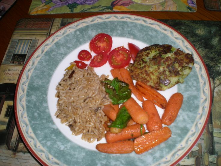 My version of broccoli & cheese patties with rice & carrots on the ...